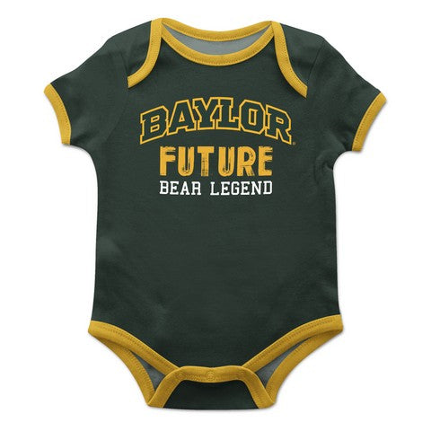 Baylor Solid Green Boys Onesie Short Sleeve