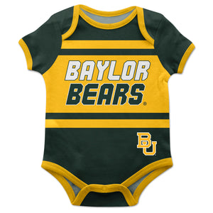 Baylor Bears Block Stripe Green Short Sleeve Onesie - Vive La Fête - Online Children's Apparel