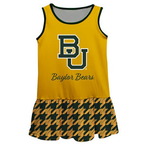 Baylor Houndstooth Gold Sleeveless Lily Dress