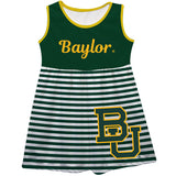 Baylor Bears Big Logo Green And White Stripes Tank Dress