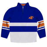 United States Coast Guard Academy Logo Stripes Blue Long Sleeve Quarter Zip Sweatshirt - Vive La Fête - Online Apparel Store