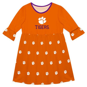 Clemson Print Orange Amy Dress Three Quarter Sleeve - Vive La Fête - Online Children's Apparel