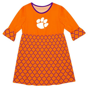 Clemson Quatrefoil Orange Amy Dress Three Quarter Sleeve - Vive La Fête - Online Children's Apparel