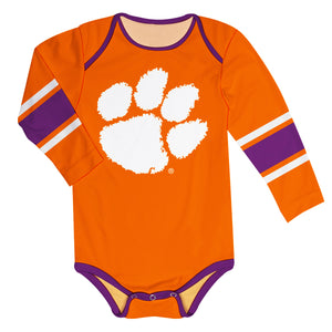 Clemson Tigers Stripes Orange Long Sleeve Onesie - Vive La Fête - Online Children's Apparel