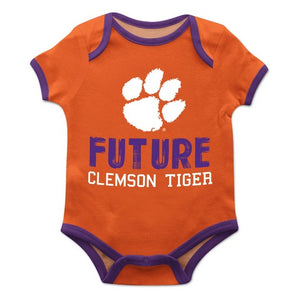 Clemson Solid Orange Boys Onesie Short Sleeve - Vive La Fête - Online Children's Apparel