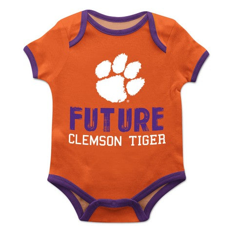 Clemson Solid Orange Boys Onesie Short Sleeve