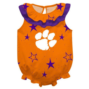 Clemson Stars Orange Girls Sleeveless Onesie - Vive La Fête - Online Children's Apparel