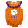 Clemson Swirls Orange Girls Sleeveless Onesie