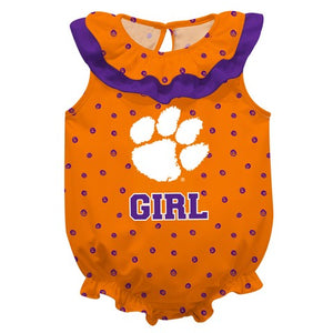 Clemson Swirls Orange Girls Sleeveless Onesie - Vive La Fête - Online Children's Apparel