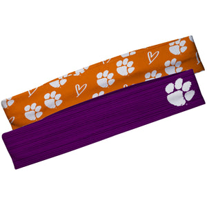 Clemson Tigers Purple Solid And Orange Repeat Logo Headband Set
