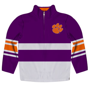 Clemson Tigers Logo Stripes Purple Long Sleeve Quarter Zip Sweatshirt - Vive La Fête - Online Children's Apparel