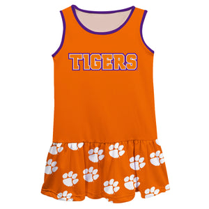 Clemson Tigers Repeat Logo Orange Sleeveless Lily Dress - Vive La Fête - Online Children's Apparel