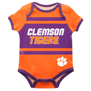 Clemson Tigers Block Stripe Orange Short Sleeve Onesie - Vive La Fête - Online Children's Apparel
