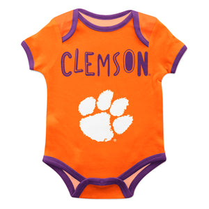 Clemson Tigers Orange Solid Short Sleeve Onesie