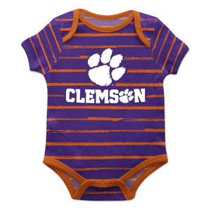 Clemson Stripe Purple and Orange Boys Onesie SS - Vive La Fête - Online Children's Apparel