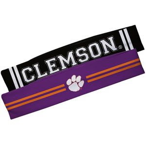 Clemson Tigers Purple And Black Stripes Headband Set