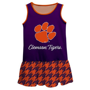 Clemson Houndstooth Purple Sleeveless Lily Dress - Vive La Fête - Online Children's Apparel