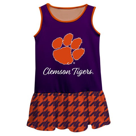 Clemson Houndstooth Purple Sleeveless Lily Dress