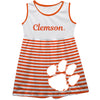 Clemson Tigers Big Logo Orange And White Stripes Tank Dress
