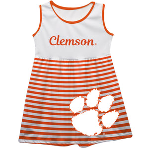 Clemson Tigers Big Logo Orange And White Stripes Tank Dress - Vive La Fête - Online Children's Apparel