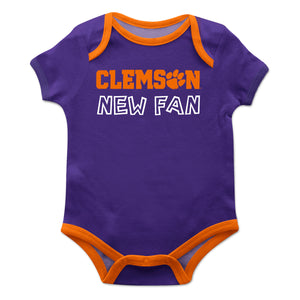 Clemson Solid Purple Boys Onesie Short Sleeve - Vive La Fête - Online Children's Apparel