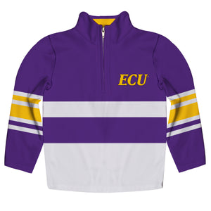 East Carolina Pirates Logo Stripes Purple Long Sleeve Quarter Zip Sweatshirt