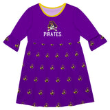 East Carolina Print Purple Amy Dress Three Quarter Sleeve