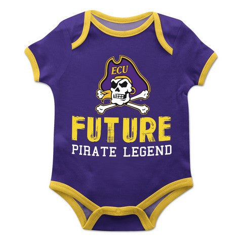 East Carolina Solid Purple Boys Onesie Short Sleeve