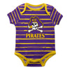 East Carolina Stripe Purple and Gold Boys Onesie SS