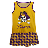 East Carolina Houndstooth Gold Sleeveless Lily Dress