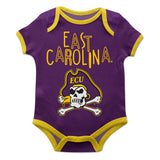 East Carolina Pirates Purple Solid Short Sleeve Onesie - Vive La Fête - Online Apparel Store