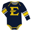 East Tennessee State Stripes Blue Long Sleeve Onesie - Vive La Fête - Online Children's Apparel