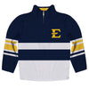 East Tennessee State Logo Stripes Blue Long Sleeve Quarter Zip Sweatshirt