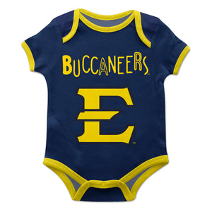 East Tennessee State Blue Solid Short Sleeve Onesie