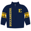 East Tennessee State Stripes Blue Long Sleeve Quarter Zip Sweatshirt - Vive La Fête - Online Apparel Store
