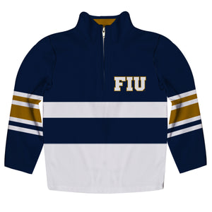FIU Panthers Logo Stripes Blue Long Sleeve Quarter Zip Sweatshirt