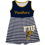 FIU Panthers Big Logo Blue And White Stripes Tank Dress