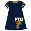 FIU Panthers Big Logo Blue Stripes Short Sleeve A Line Dress