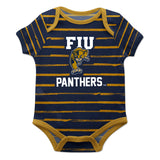 FIU Stripe Blue and Gold Boys Onesie Short Sleeve