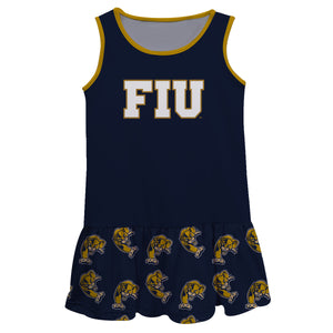 FIU Panthers Repeat Logo Blue Sleeveless Lily Dress - Vive La Fête - Online Children's Apparel