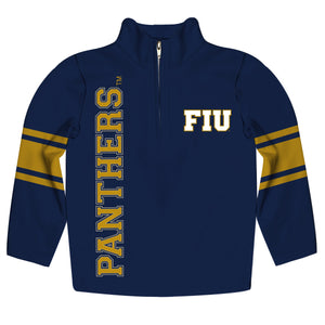 FIU Panthers Stripes Blue Long Sleeve Quarter Zip Sweatshirt