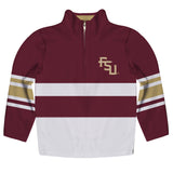 Florida State Seminoles Logo Stripes Garnet Long Sleeve Quarter Zip Sweatshirt - Vive La Fête - Online Children's Apparel