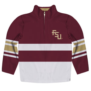 Florida State Seminoles Logo Stripes Garnet Long Sleeve Quarter Zip Sweatshirt
