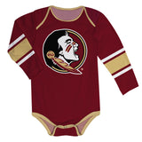 Florida State Seminoles Stripes Garnet Long Sleeve Onesie - Vive La Fête - Online Children's Apparel