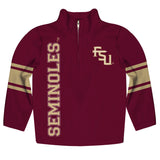 Florida State Seminoles Stripes Garnet Long Sleeve Quarter Zip Sweatshirt