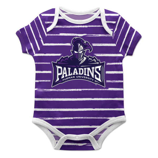 Furman Stripe Purple and Gray Boys Onesie Short Sleeve