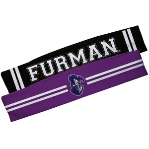 Furman Paladins Purple And Black Stripes Headband Set
