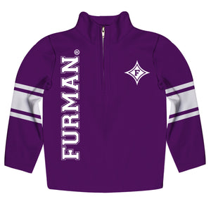 Furman Paladins Stripes Purple Long Sleeve Quarter Zip Sweatshirt