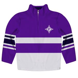 Furman Paladins Logo Stripes Purple Long Sleeve Quarter Zip Sweatshirt