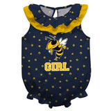 Georgia Tech Swirls Yellow Girls Sleeveless Onesie - Vive La Fête - Online Children's Apparel